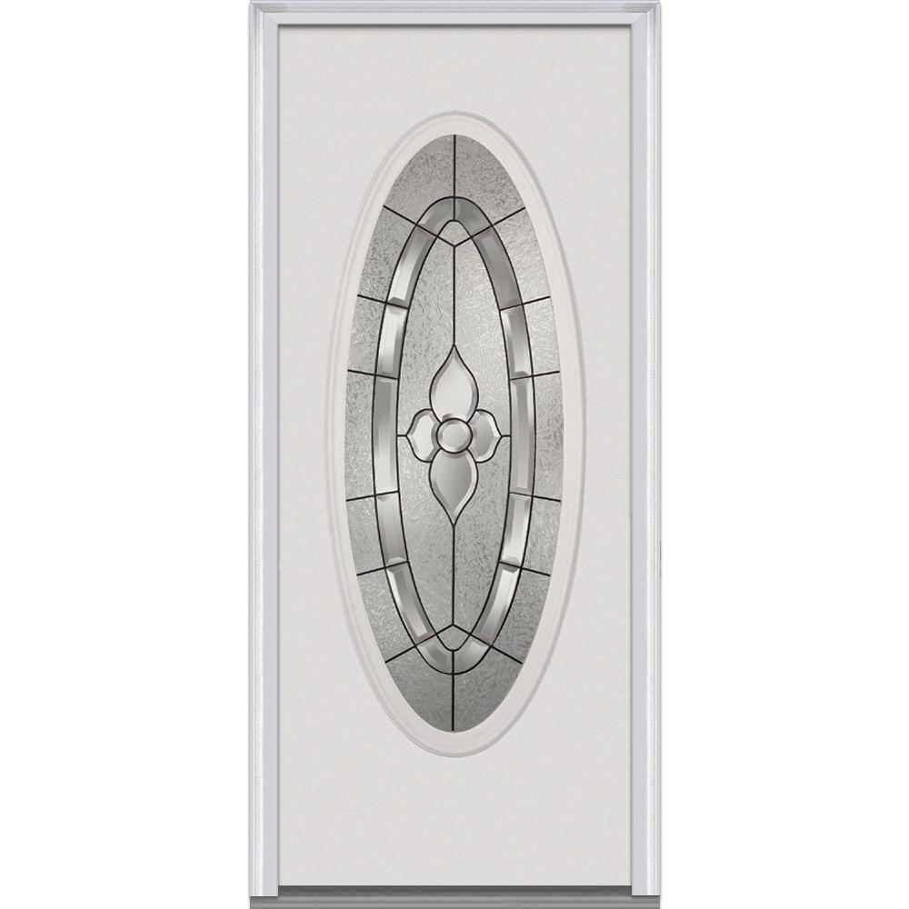 Mmi Door 30 In X 80 In Master Nouveau Left Hand Large Oval Classic Primed Fiberglass Smooth