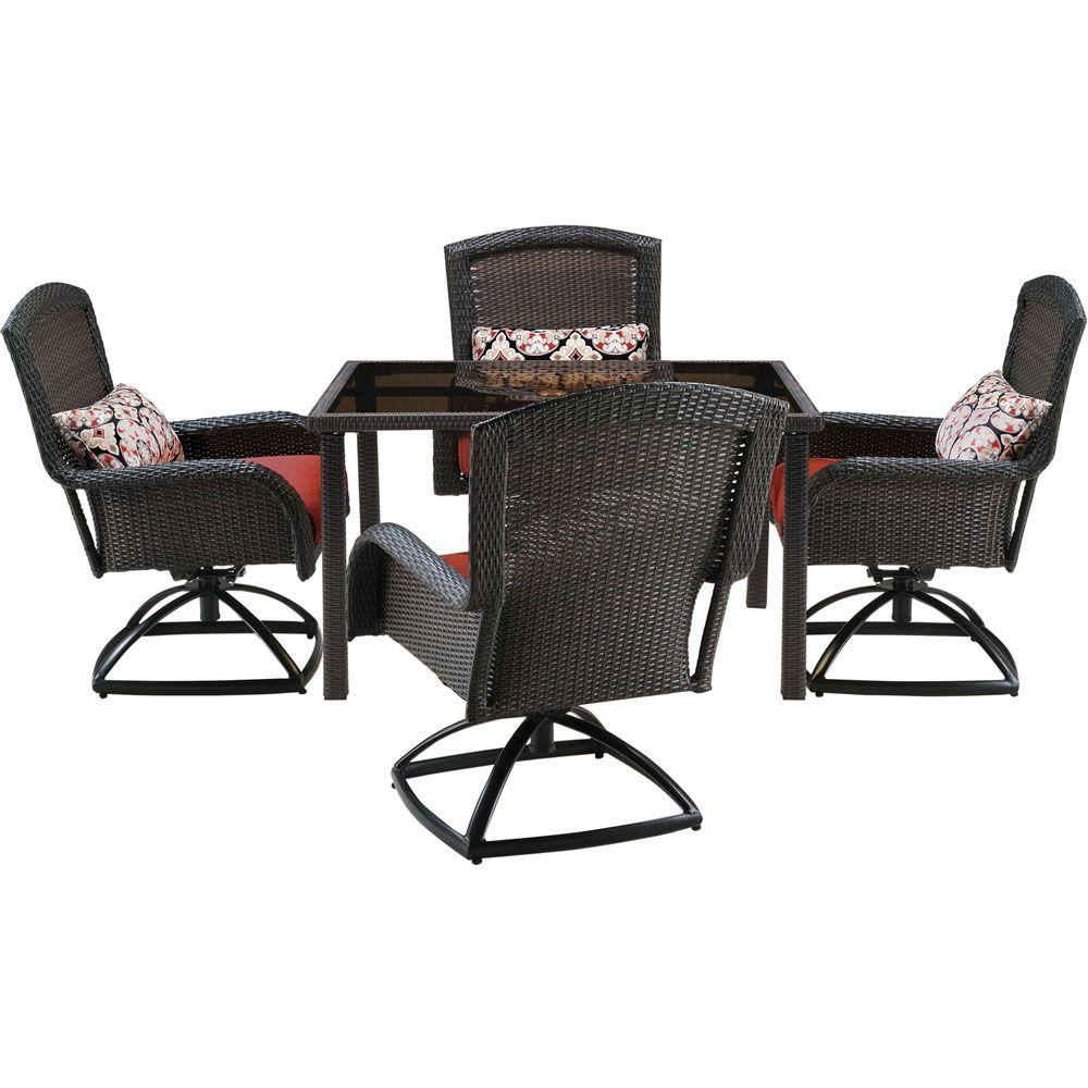 Oakland living rochester 5 piece swivel patio dining set for Small patio table and 4 chairs