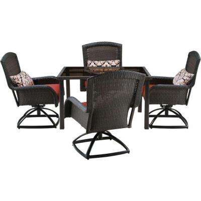 Strathmere 5-Piece All-Weather Wicker Square Patio Dining Set with Four Swivel Chairs and Crimson Red Cushions