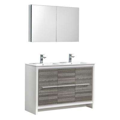 Allier Rio 48 in. Modern Bathroom Vanity in Ash Gray with Double Ceramic Vanity Top in White and Medicine Cabinet