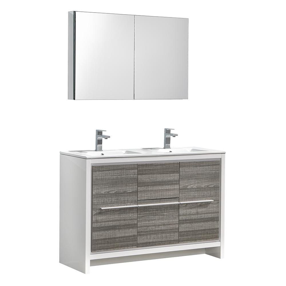 Fresca Allier Rio 48 In Modern Bathroom Vanity Ash Gray With Double Ceramic