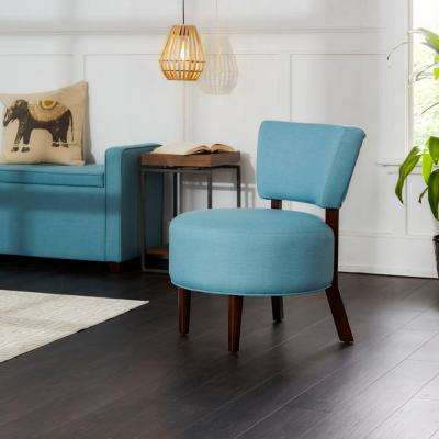 Molly Capri Blue Modern Armless Round Seat Occasional Chair