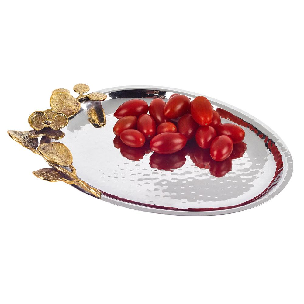 9.5 in. x 6.75 in. Stainless Steel Oval Tray with Petals