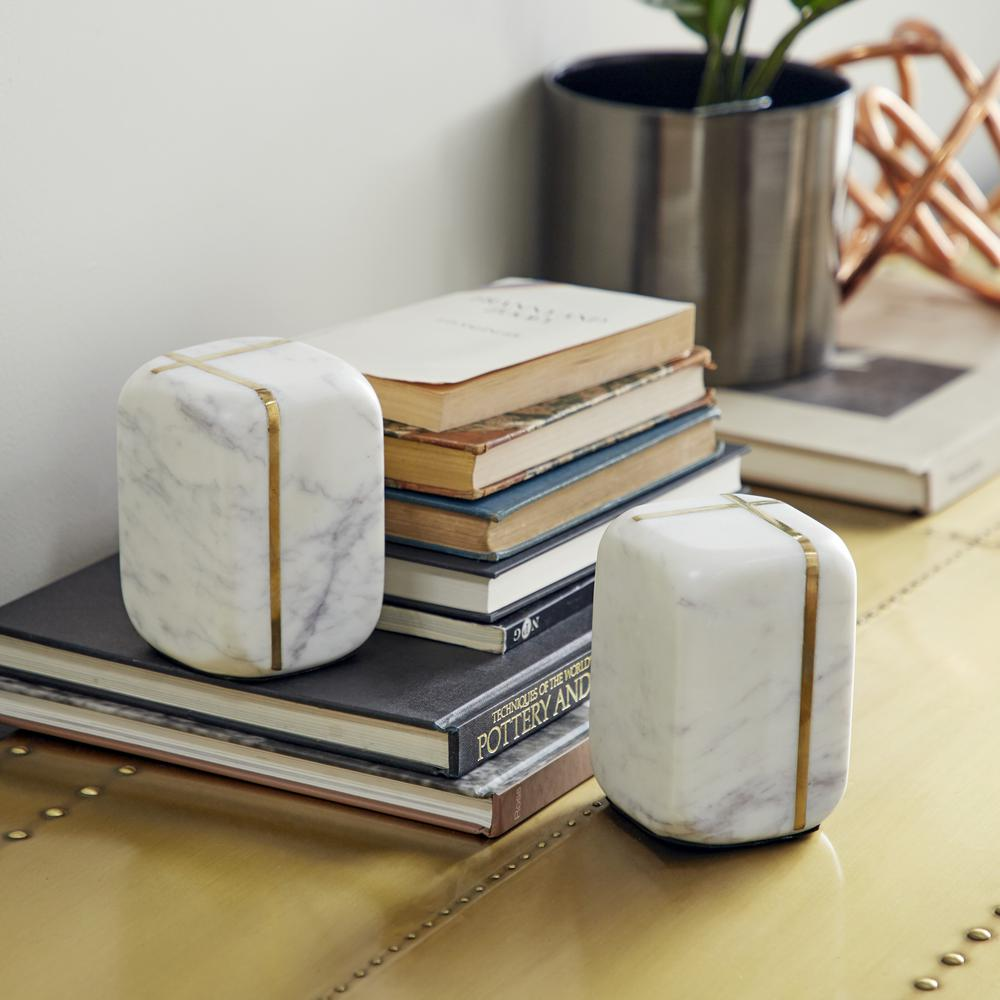 White 5 in. x 6 in. Each Marble Unthemed Bookends with Gold Metal Accents