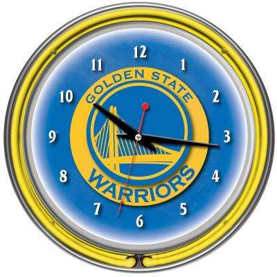 14 in. Golden State Warriors NBA Chrome Double Ring Neon Wall Clock