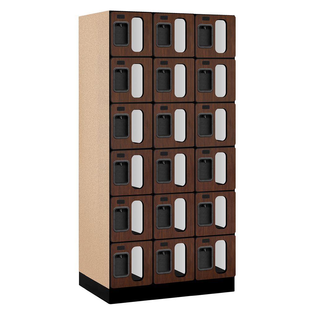 Salsbury Industries S-36000 Series 36 in. W x 76 in. H x 21 in. D 6-Tier Box Style See-Through Designer Wood Locker in Mahogany