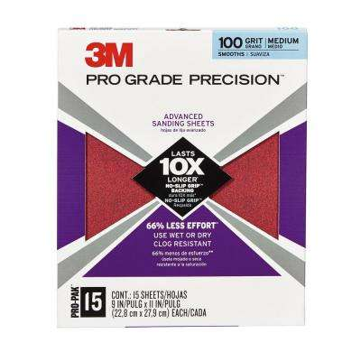 Pro Grade Precision 9 in. x 11 in. 100 Grit Advanced Sanding Sheets (15-Pack) (Case of 5)