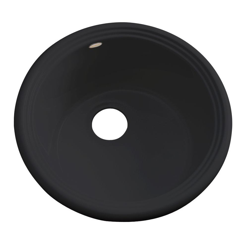 Thermocast Hampton Drop-in Acrylic 18 in. 0-Hole Single Bowl Entertainment Sink in Black