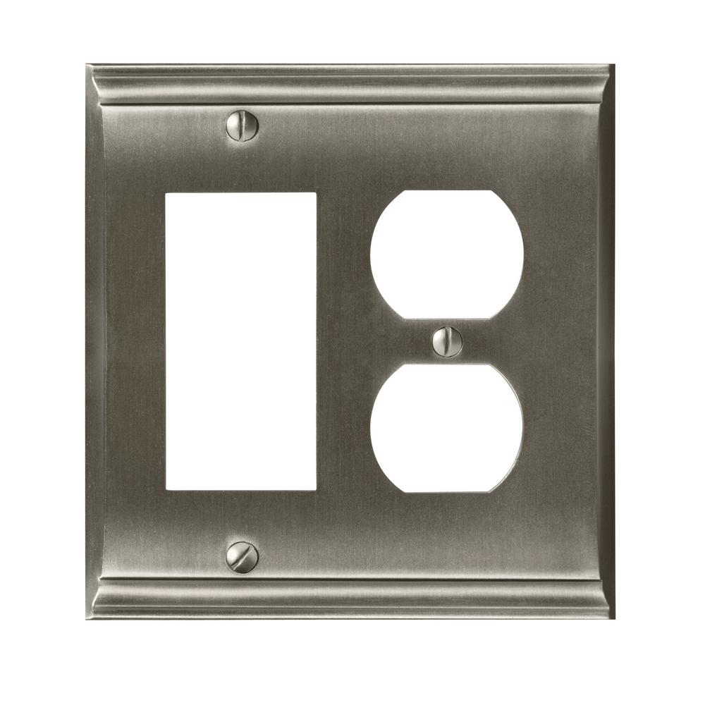 Candler 1 Rocker and 1-Duplex Outlet Combination Wall Plate, Satin Nickel