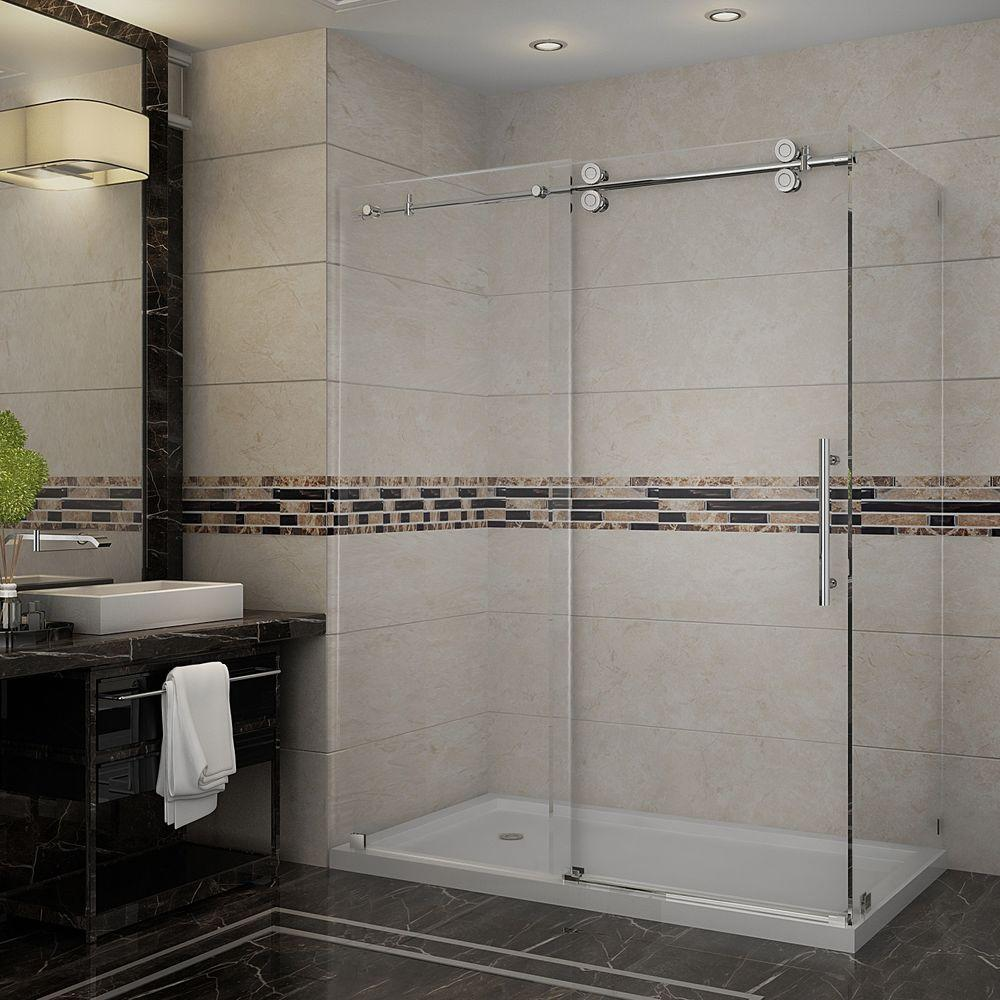 Aston Langham 60 in. x 35 in. x 77-1/2 in. Completely Frameless Shower Enclosure in Stainless Steel with Left Base
