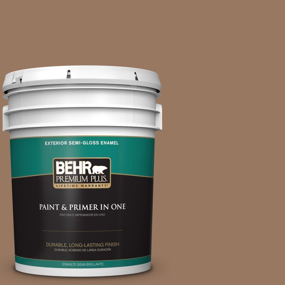 BEHR Premium Plus 5-gal. #ECC-40-3 Seasoned Acorn Semi-Gloss Enamel Exterior Paint