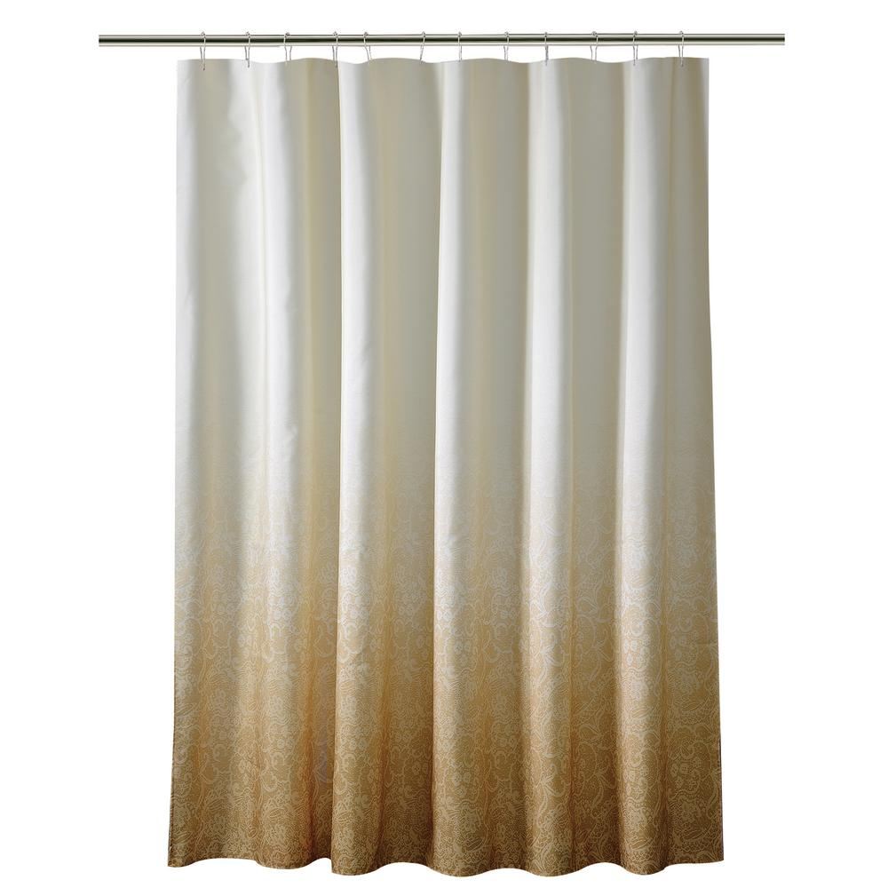 Bath Bliss 72 in. Gold Shower Curtain in Ombre Printed Polyester ...