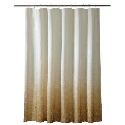 72 in. Gold Shower Curtain in Ombre Printed Polyester