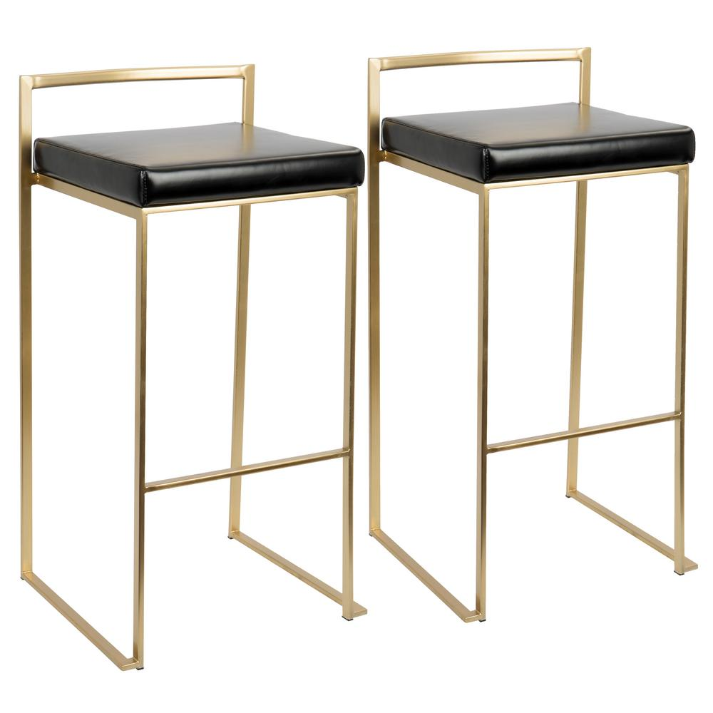 Lumisource Fuji Gold And Black Stackable Barstool Set Of