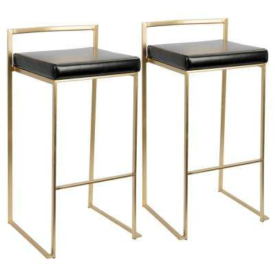 Fuji Gold and Black Stackable Barstool (Set of 2)