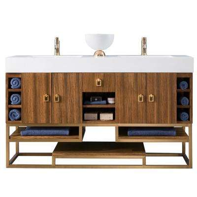 Tahoe 59 in. Double Bath Vanity in Natural Zebrano Wood with Vanity Top in Glossy White with White Basin