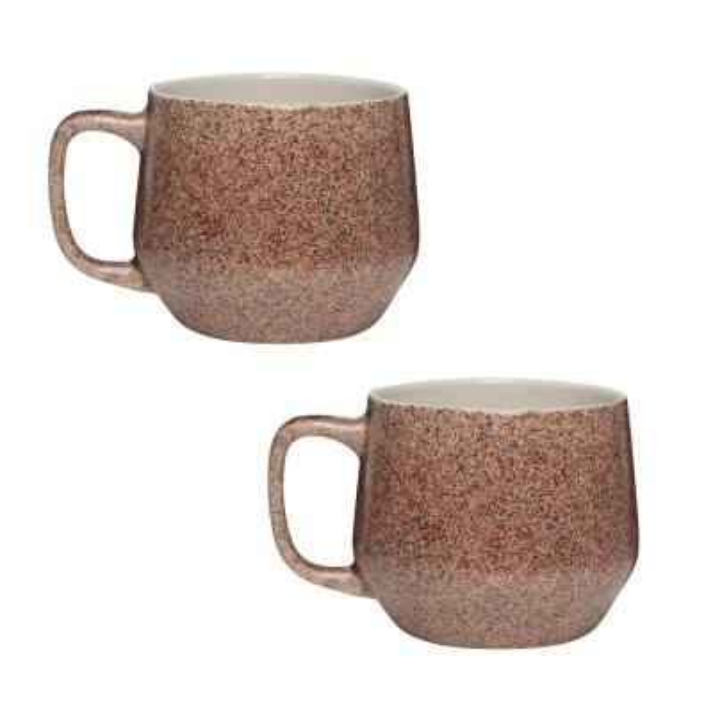 Primitive Granite 22 oz. Earth Tone Ceramic Coffee Mug (Set of 2)