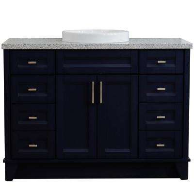49 in. W x 22 in. D Single Bath Vanity in Blue with Granite Vanity Top in Gray with White Round Basin