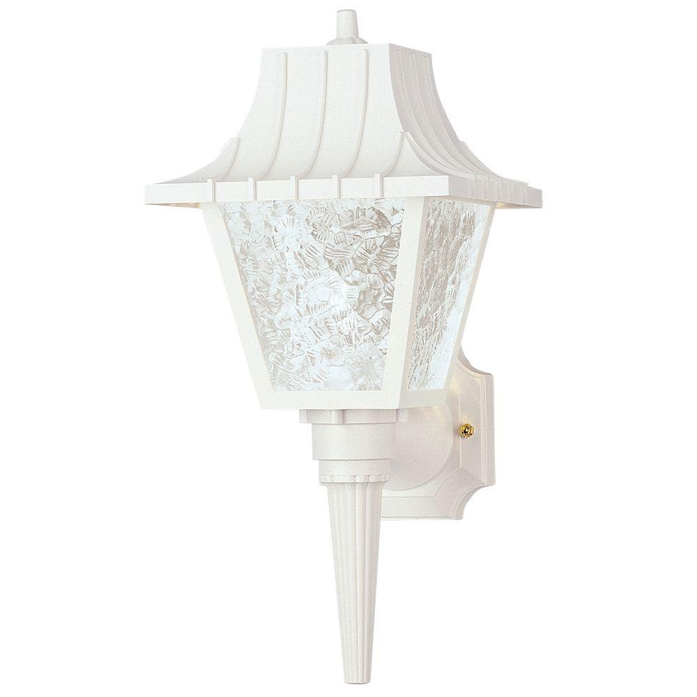 Westinghouse white outdoor wall mounted lighting outdoor 1 light white exterior wall lantern with removable tail hi impact polycarbonate and clear aloadofball Choice Image