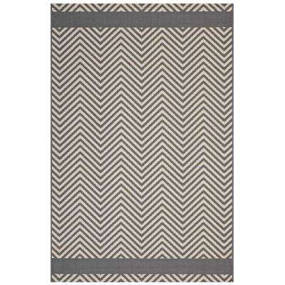 Optica Chevron With End Borders 8 ft. x 10 ft. Indoor and Outdoor Area Rug in Gray and Beige