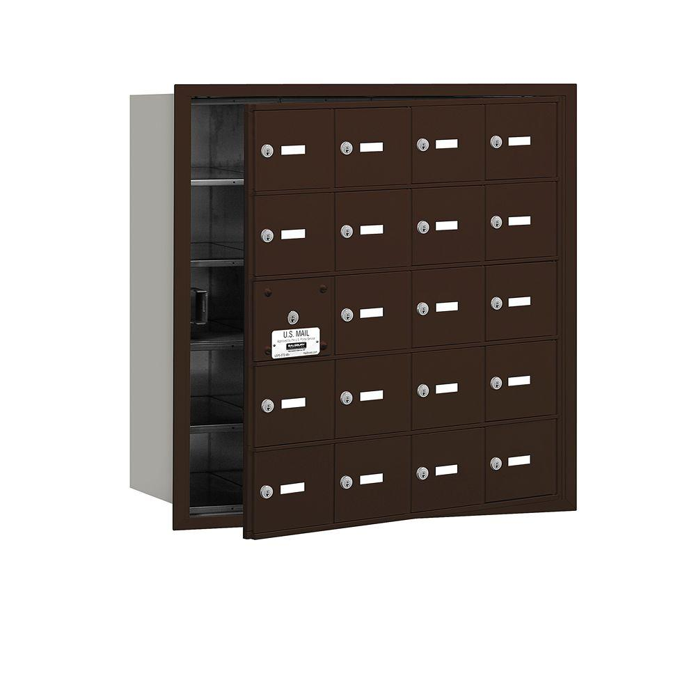 Salsbury Industries Bronze USPS Access Front Loading 4B Plus Horizontal Mailbox with 20A Doors (19 Usable)
