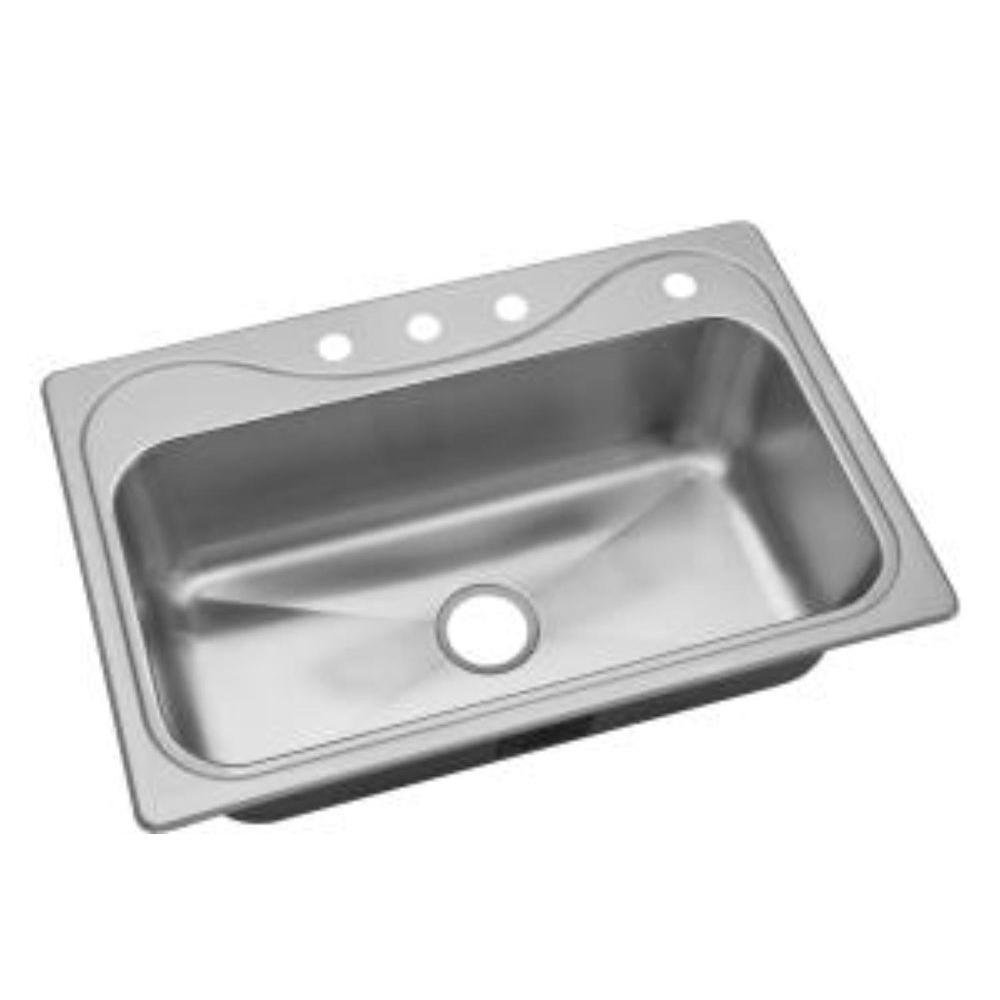 STERLING Southhaven X Drop-in Stainless Steel 33x22x9-1/4 4-Hole Single Basin Kitchen Sink-DISCONTINUED