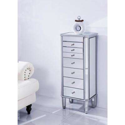 Danville 18 in. L x 12 in. W x 41 in. H Silver 7-Drawer Jewelry Armoire and Clear Mirror