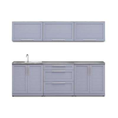 Coastal Gray 7-Piece 96 in. W x 36.5 in. H x 24 in. D Outdoor Kitchen Cabinet Set with Countertop