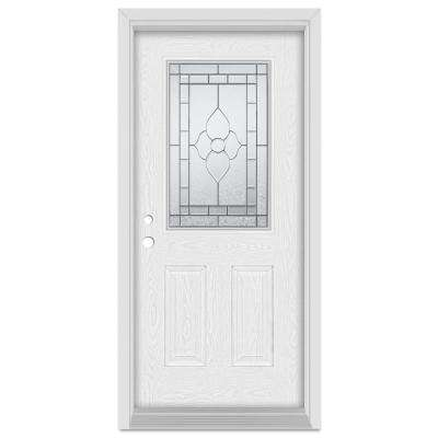 37.375 in. x 83 in. Traditional Right-Hand Patina Finished Fiberglass Oak Woodgrain Prehung Front Door Brickmould