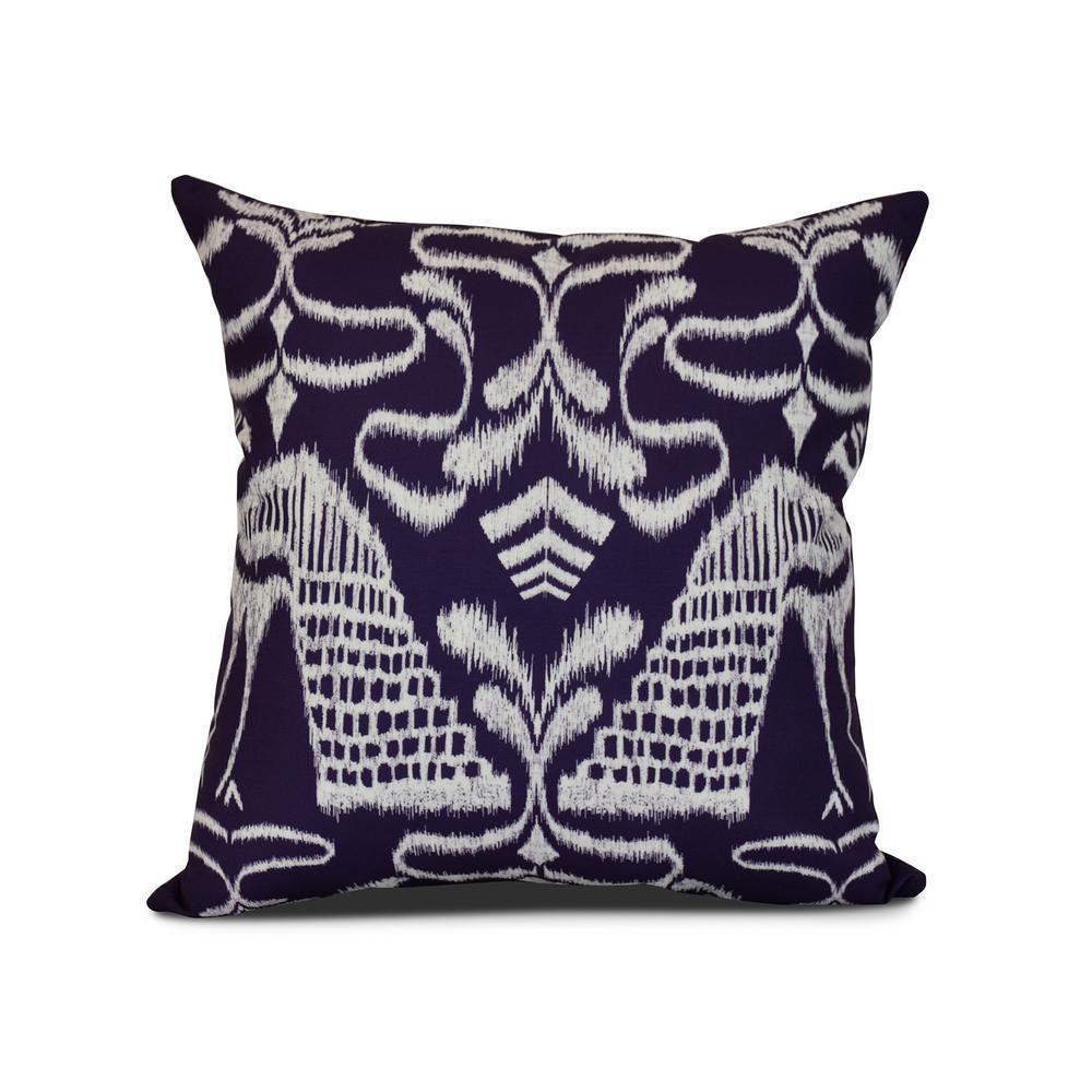 16 in. Purple Crown Animal Print Pillow