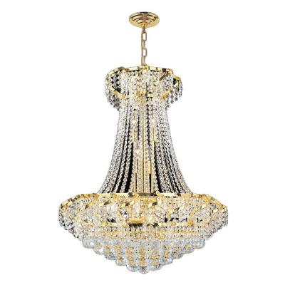 Empire Collection 15-Light Polished Gold and Crystal Chandelier