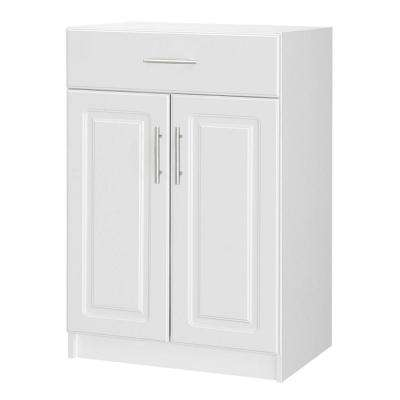 Select 18.62 in. D x 23.98 in. W x 35.98 in. H White 2-Door Base Cabinet Wood Closet System with Drawer