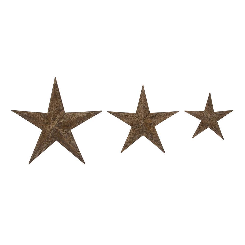 Set of 3 Rustic Barn Star 3-D Wall Art Sculptures Iron w//Textured Bronze Finish