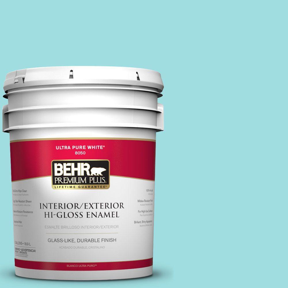 BEHR Premium Plus 5-gal. #P460-2 Tropical Waterfall Hi-Gloss Enamel Interior/Exterior Paint