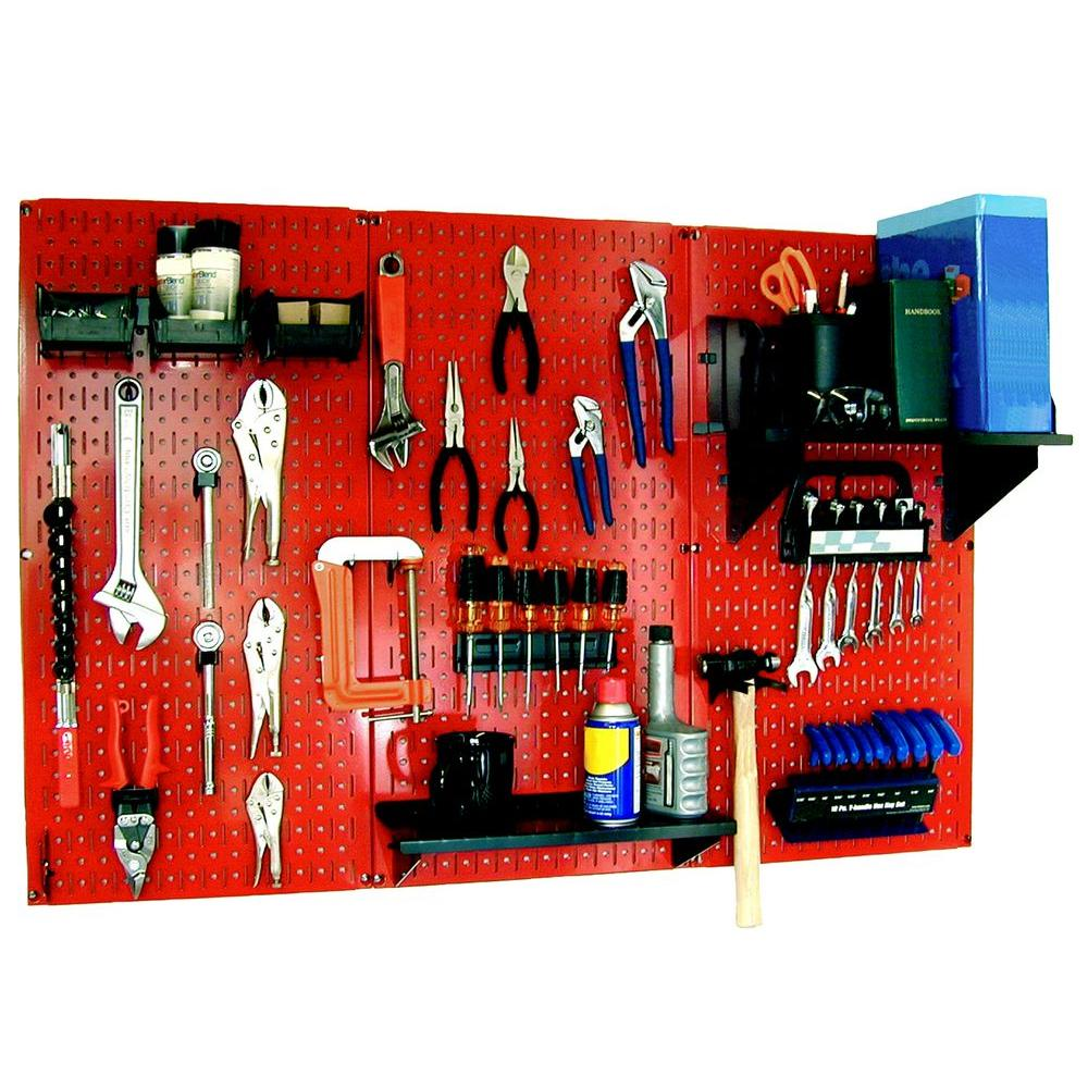 Wall Control 32 in. x 48 in. Metal Pegboard Standard Tool Storage Kit with Red Pegboard and Black Peg Accessories