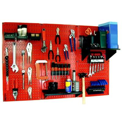 32 in. x 48 in. Metal Pegboard Standard Tool Storage Kit with Red Pegboard and Black Peg Accessories