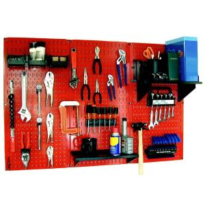 Wall Control 32 in. x 48 in. Metal Pegboard Standard Tool Storage Kit with Red Pegboard and Black Peg Accessories-30WRK400RB - The Home Depot