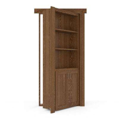 36 in. x 80 in. Flush Mount Assembled Laundry Door Oak Medium Stained Left-Hand Inswing