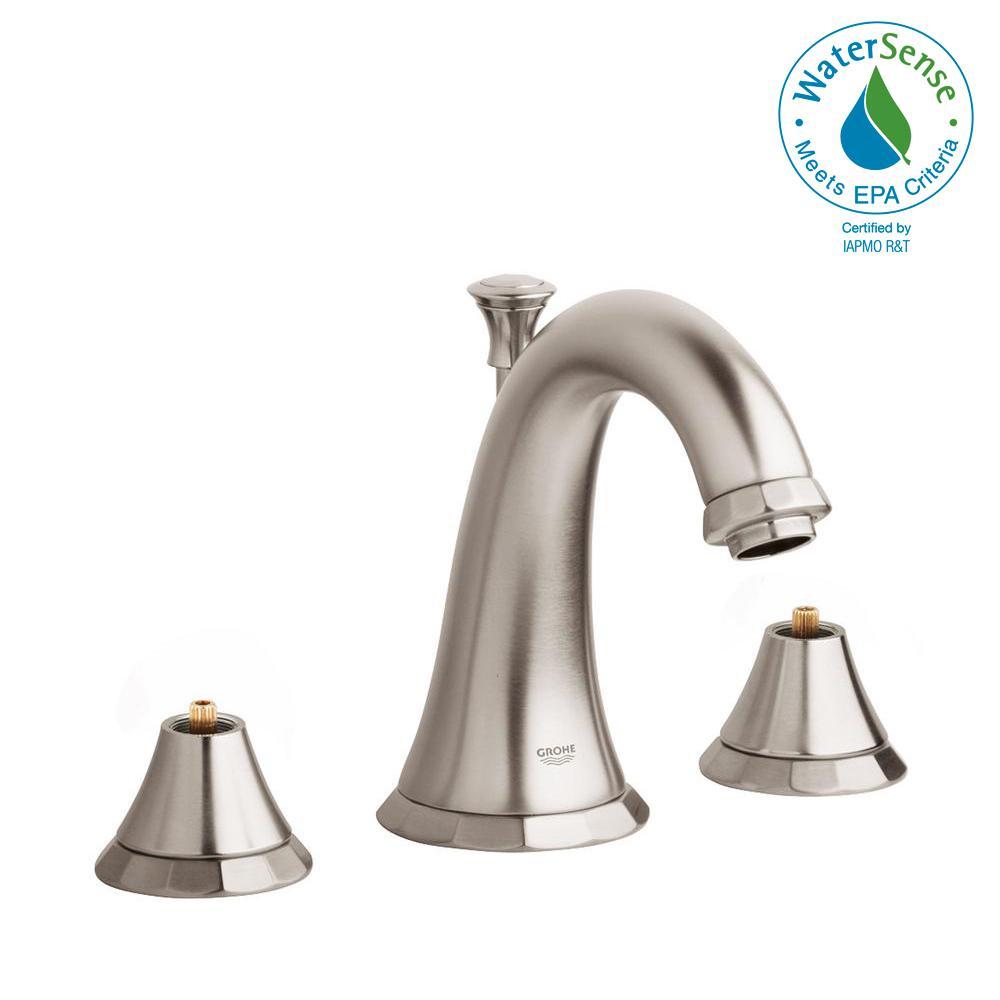 Kensington 8 in. Widespread 2-Handle 1.2 GPM Bathroom Faucet in Brushed Nickel InfinityFinish (Handles Sold Separately)