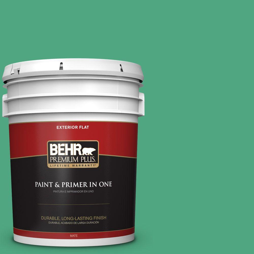 BEHR Premium Plus 5-gal. #P420-5 Shamrock Green Flat Exterior Paint