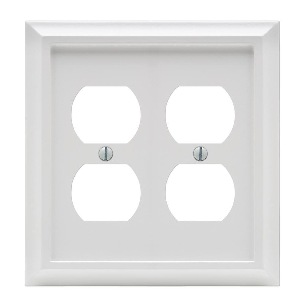 Deerfield 2 Gang Duplex Composite Wall Plate - White