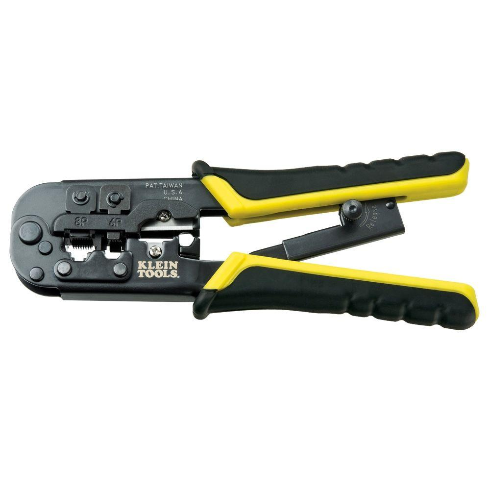 Klein Tools 7-1/2 in. Ratchering Modular Crimper and Stri...