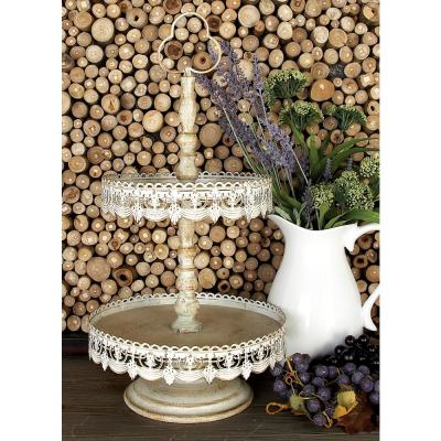 24 in. 2-Tiered Round Whitewashed and Rust Brown Iron Tray Stand with Cutout Bunting Overhang