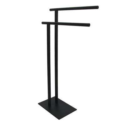 European Pedestal Bath Towel Rack in Matte Black