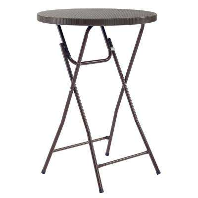Brown Round Folding Cocktail Table