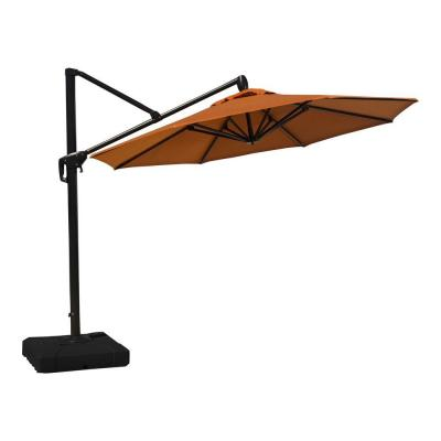 10 ft. Aluminum Round Tilt Patio Umbrella in Tikka Orange