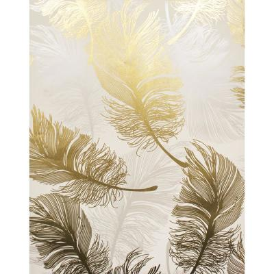 Clemente Gold Foil Feather Wallpaper