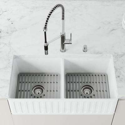 Matte Stone Farmhouse Composite 36 in. 50/50 Double Bowl Kitchen Sink Set in White with Silicone Grids in Gray