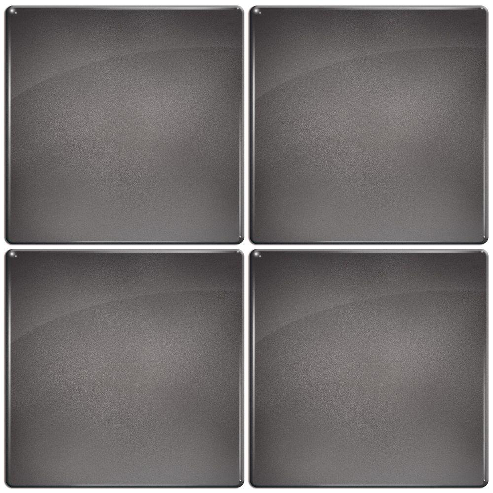 Smart Tiles 3-11/16 in. x 3-11/16 in. Slate Gel Tile Dark Metallic Gray Decorative Wall Tile (4-Pack)-DISCONTINUED