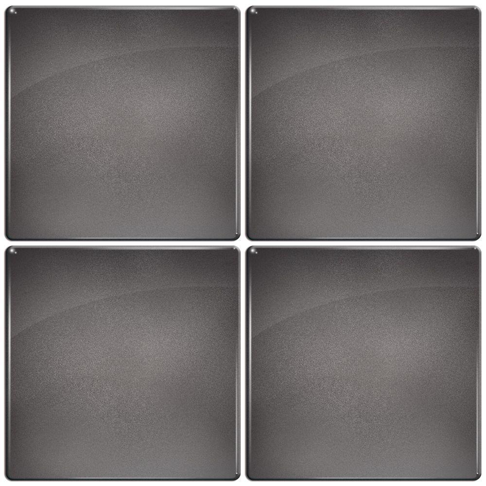 Smart Tiles 3-11/16 in. x 3-11/16 in. Slate Gel Tile Dark Metallic Gray Decorative Wall Tile (4-Pack)-DISCONTINUED